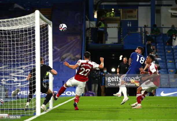 Olivier Giroud of Chelsea shoots and misses during the Premier League match between Chelsea and Arsenal at Stamford Bridge on May 12, 2021 in London,...