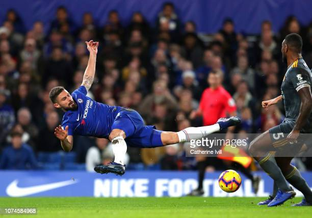 Olivier Giroud of Chelsea shoots during the Premier League match between Chelsea FC and Leicester City at Stamford Bridge on December 22 2018 in...