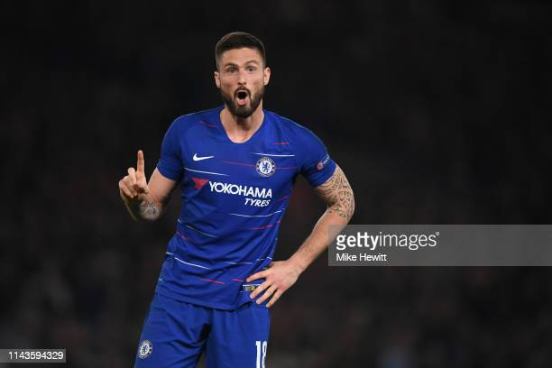 Olivier Giroud of Chelsea signals during the UEFA Europa League Quarter Final Second Leg match between Chelsea and Slavia Praha at Stamford Bridge on...