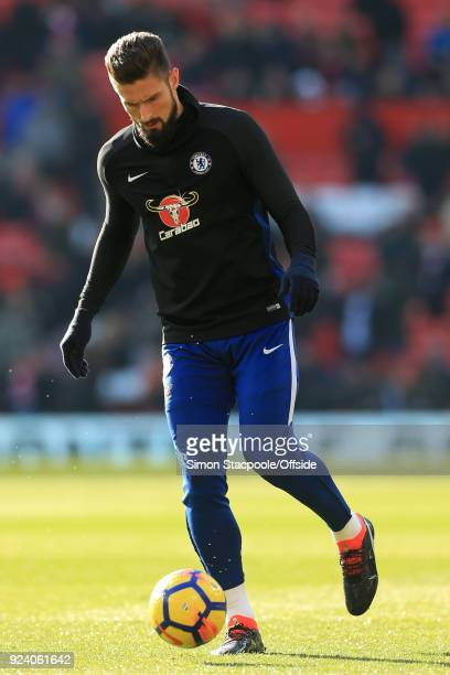 Olivier Giroud of Chelsea warms up before the Premier League match between Manchester United and Chelsea at Old Trafford on February 25 2018 in...