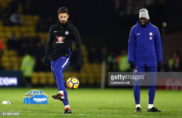 Olivier Giroud of Chelsea warms up during the Premier League match between Watford and Chelsea at Vicarage Road on February 5 2018 in Watford England