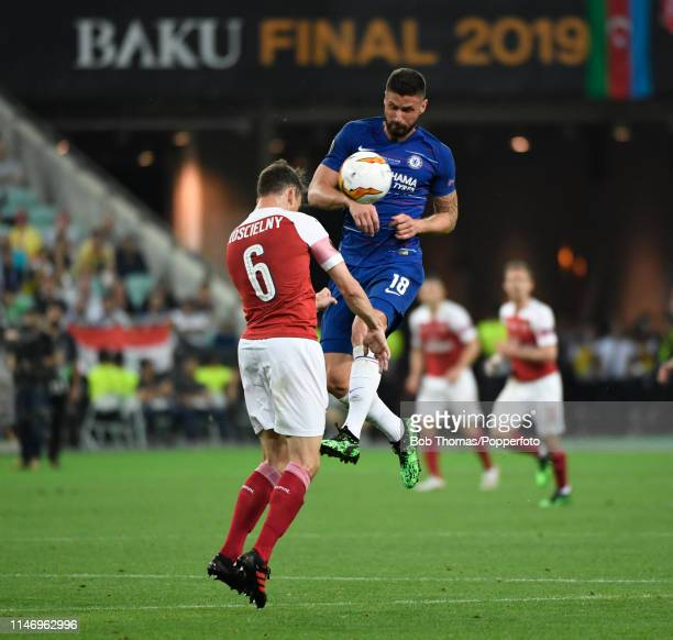 Olivier Giroud of Chelsea with Laurent Koscielny of Arsenal during the UEFA Europa League Final between Chelsea and Arsenal at the Baku Olympic...