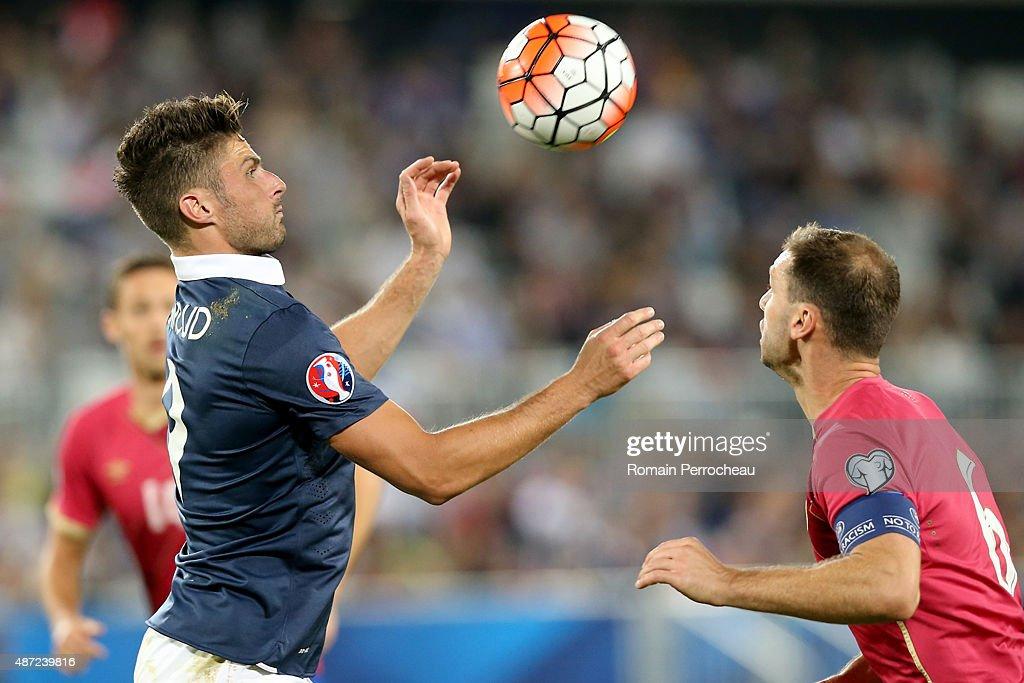Olivier Giroud of France and Branislav Ivanovic of Serbia during the International Friendly game between France and Serbia during on September 7, 2015 in Bordeaux, France.