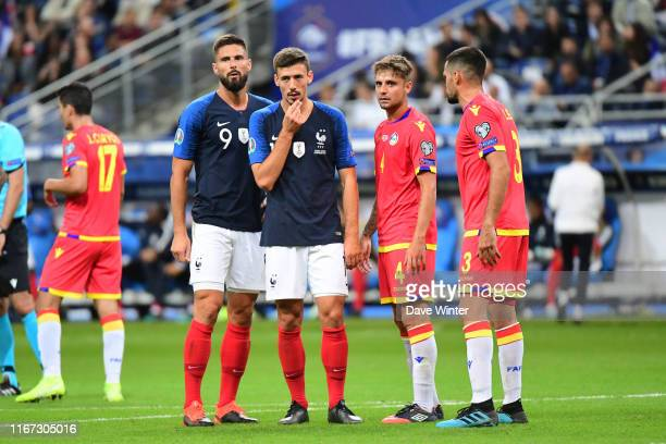 Olivier Giroud of France and Clement Lenglet of France during the UEFA European Championship 2020 qualifying match between France and Andorra at...