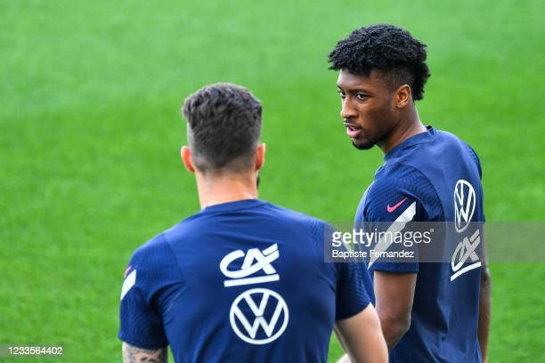 Olivier GIROUD of France and Kingsley COMAN of France during the training session of France at Nandor Hidegkuti Stadium on June 20, 2021 in Budapest,...