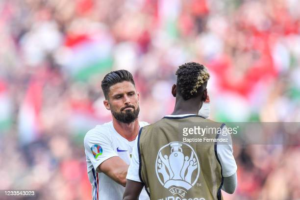 Olivier GIROUD of France and Paul POGBA of France during the UEFA European Championship football match between Hungary and France at Ferenc Puskas on...
