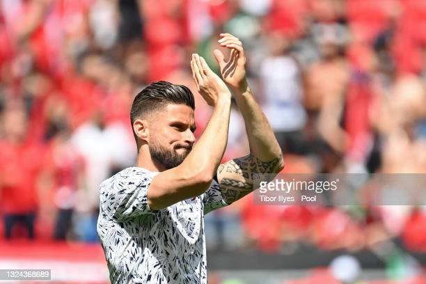 Olivier Giroud of France applauds the fans during the warm up prior to the UEFA Euro 2020 Championship Group F match between Hungary and France at...