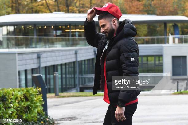 Olivier Giroud of France arrives ahead of a training session on November 11 2019 in Clairefontaine France France will play against Moldova in their...