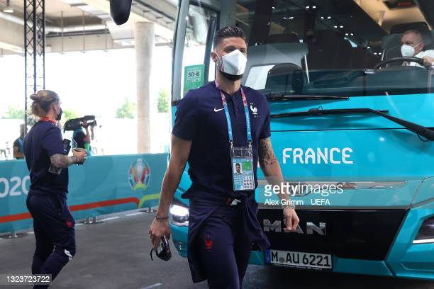 Olivier Giroud of France arrives at the stadium prior to the UEFA Euro 2020 Championship Group F match between France and Germany at Football Arena...
