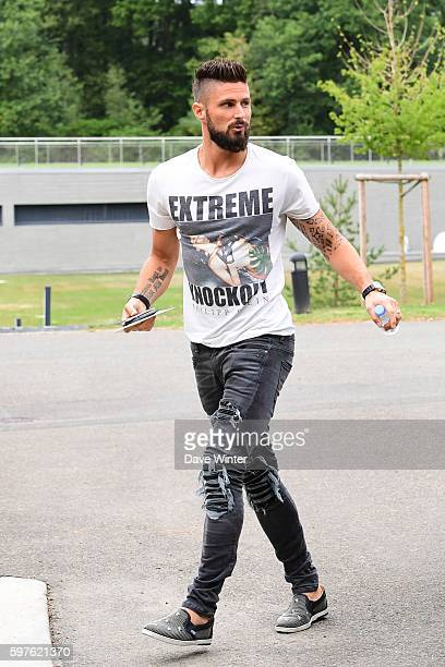 Olivier Giroud of France arriving at the Centre National du Football on August 29 2016 in Clairefontaine France