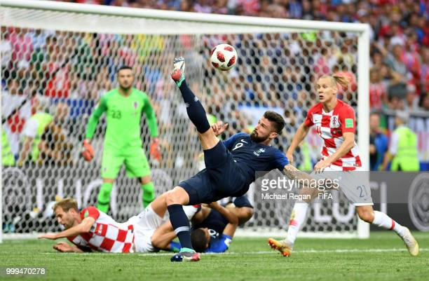 Olivier Giroud of France attempts an overhead kick during the 2018 FIFA World Cup Final between France and Croatia at Luzhniki Stadium on July 15,...