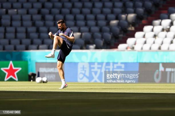 Olivier Giroud of France attends a training session in Munich, Germany, June 14, 2021. France is to play against Germany in a UEFA Euro 2020...