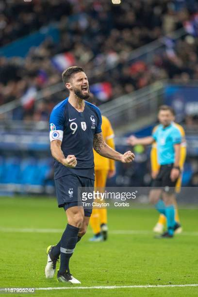 November 14: Olivier Giroud of France celebrates after scoring from the penalty spot for his sides second goal during the France V Moldova, 2020...