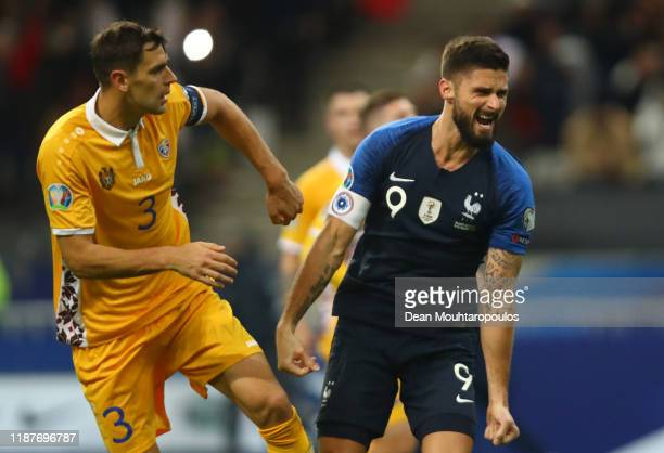 Olivier Giroud of France celebrates after scoring his team's second goal during the UEFA Euro 2020 Qualifier between France and Moldova on November...