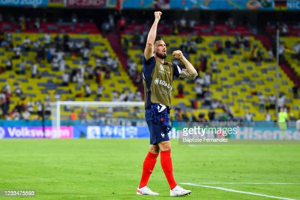Olivier GIROUD of France celebrates after the UEFA European Championship football match between France and Allemagne at Allianz Arena on June 15,...