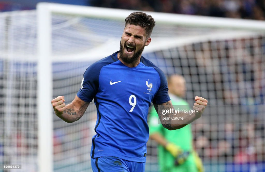 Olivier Giroud of France celebrates his goal during the FIFA 2018 World Cup Qualifier between France and Belarus at Stade de France on October 10, 2017 in Saint Denis, France.