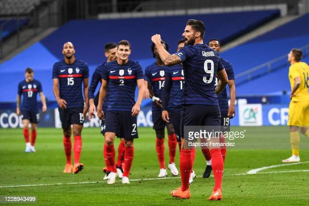 Olivier GIROUD of France celebrates his goal during the international friendly match between France and Ukraine on October 7, 2020 in Paris, France.