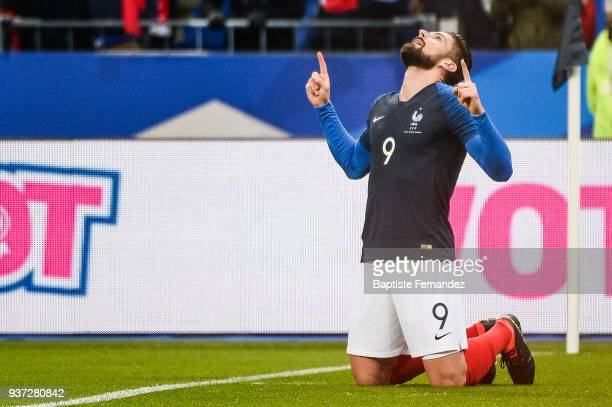 Olivier Giroud of France celebrates his goal during the International friendly match between France and Colombia on March 23 2018 in Paris France