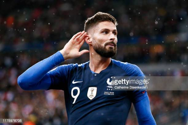 Olivier Giroud of France celebrates his goal during the UEFA Euro 2020 qualifier match between France and Turkey on October 14, 2019 in Saint-Denis,...