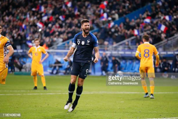 Olivier Giroud of France celebrates his goal during the UEFA Euro 2020 Qualifier match between France and Moldova on November 14 2019 in Paris France