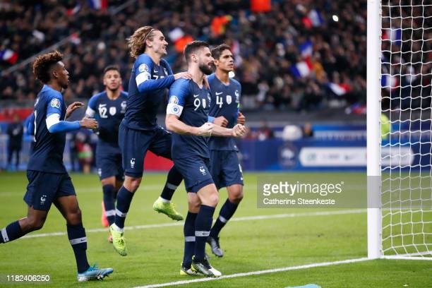 Olivier Giroud of France celebrates his goal with Antoine Griezmann of France during the UEFA Euro 2020 Qualifier match between France and Moldova on...