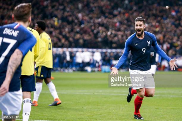 Olivier Giroud of France celebrates his goal with Lucas Digne during the international friendly match between France and Colombia at Stade de France...
