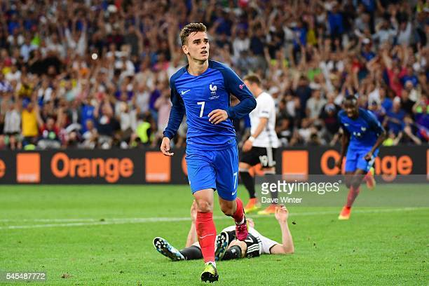 Olivier Giroud of France celebrates his second goal during the Uefa Euro Semi final between France and Germany at Stade Velodrome at Stade Velodrome...