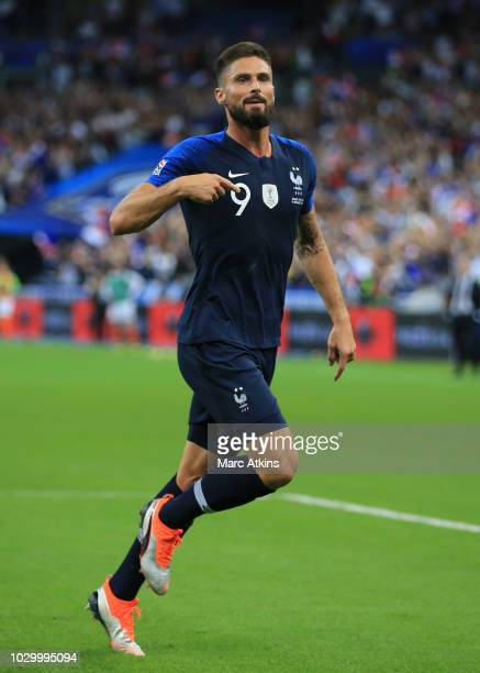 Olivier Giroud of France celebrates scoring their 2nd goal during the UEFA Nations League A group one match between France and Netherlands at Stade...