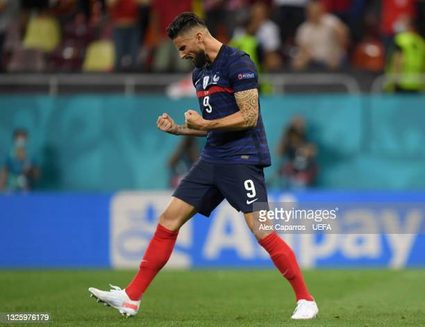 Olivier Giroud of France celebrates scoring their team's second penalty in the penalty shoot out during the UEFA Euro 2020 Championship Round of 16...