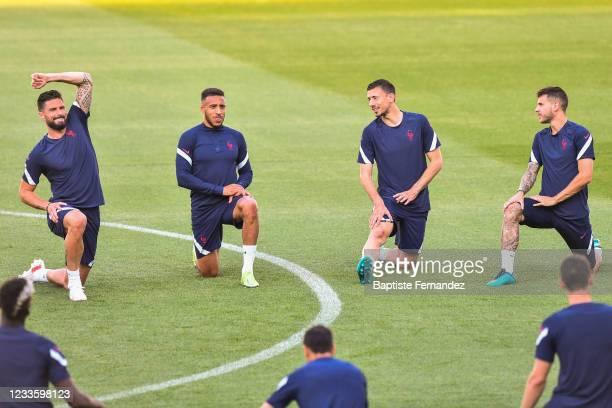Olivier GIROUD of France, Corentin TOLISSO of France, Clement LENGLET of France, Lucas HERNANDEZ of France during the French national football team...