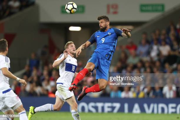 Olivier Giroud of France during the Fifa 2018 World Cup qualifying match between France and Luxembourg at on September 3 2017 in Toulouse France