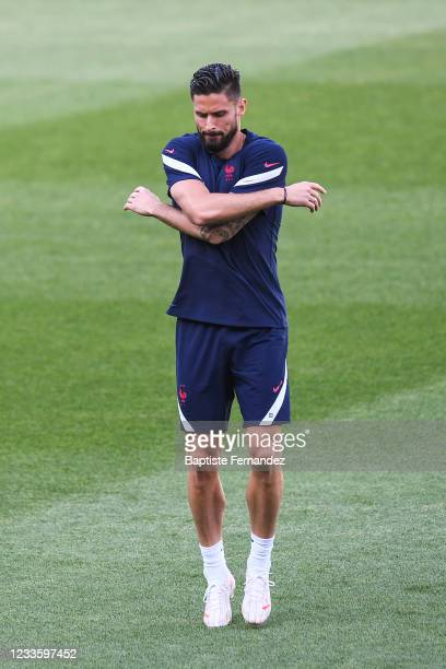 Olivier GIROUD of France during the French national football team training session prior to the UEFA EURO 2020 match Portugal against France at...