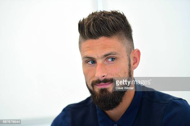 Olivier Giroud of France during the press conference at the Centre National du Football on August 29 2016 in Clairefontaine France