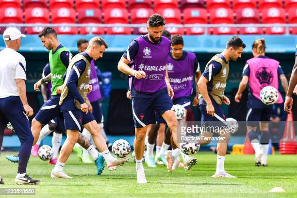 Olivier GIROUD of France during the training session of France prior the match Hungary and France at Stadium Puskas Ferenc on June 18, 2021 in...
