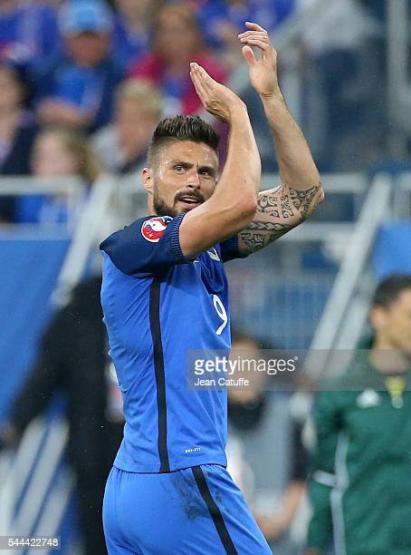 Olivier Giroud of France during the UEFA Euro 2016 quarter final match between France and Iceland at Stade de France on July 3 2016 in SaintDenis...