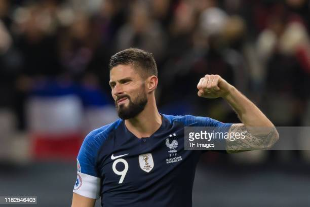 Olivier Giroud of France gestures during the UEFA Euro 2020 Qualifier between France and Moldova on November 14, 2019 in Paris, France.
