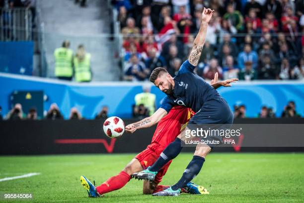 Olivier Giroud of France in action during the 2018 FIFA World Cup Russia Semi Final match between Belgium and France at Saint Petersburg Stadium on...