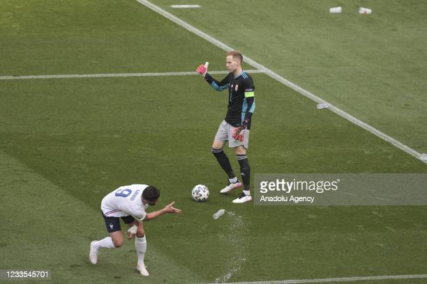 Olivier Giroud of France in action during the EURO 2020 Group F soccer match between Hungary and France, at Ferenc Puskas Stadium on June 19, 2021 in...