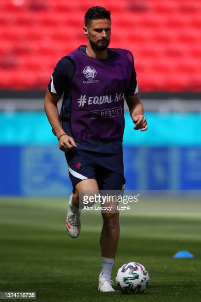 Olivier Giroud of France in action during the France Training Session ahead of the UEFA Euro 2020 Championship Group F match between Hungary and...