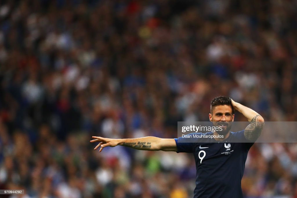 Olivier Giroud of France in action during the International Friendly match between France and Ireland at Stade de France on May 28, 2018 in Paris, France.