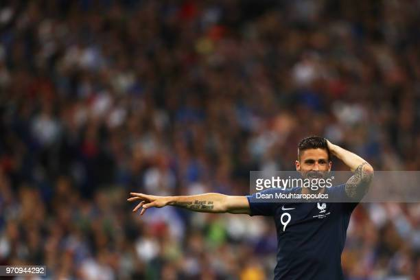 Olivier Giroud of France in action during the International Friendly match between France and Ireland at Stade de France on May 28 2018 in Paris...