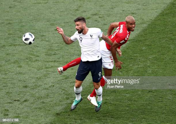 Olivier Giroud of France is challenged by Mathias Jorgensen of Denmark during the 2018 FIFA World Cup Russia group C match between Denmark and France...