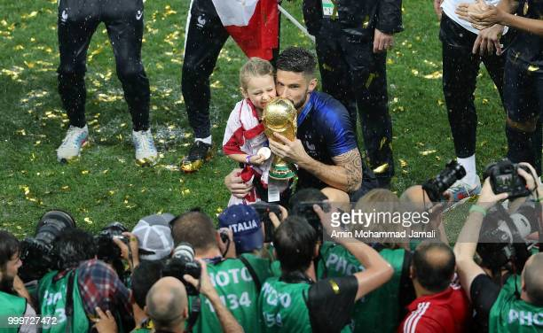 Olivier Giroud of France lifts the FIFA World Cup trophy at the end of of the 2018 FIFA World Cup Russia Final between France and Croatia at Luzhniki...