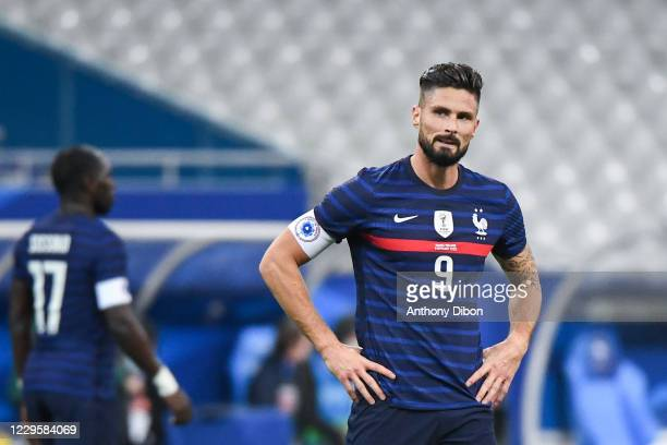 Olivier GIROUD of France looks dejected during the international friendly match between France and Finland at Stade de France on November 11, 2020 in...