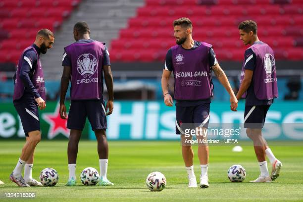 Olivier Giroud of France looks on during the France Training Session ahead of the UEFA Euro 2020 Championship Group F match between Hungary and...