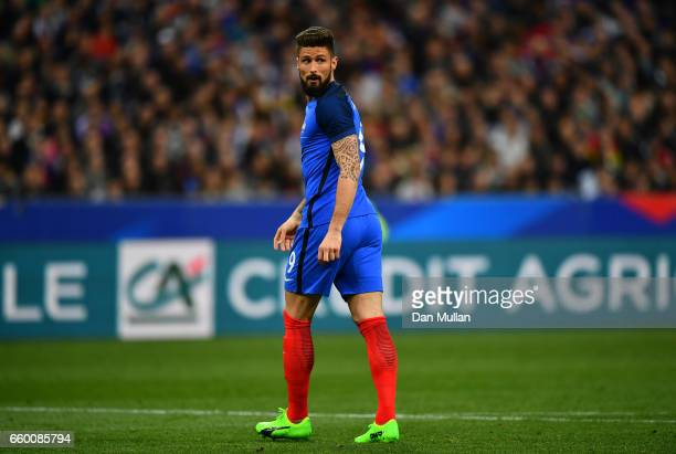 Olivier Giroud of France looks on during the International Friendly match between France and Spain at the Stade de France on March 28 2017 in Paris...