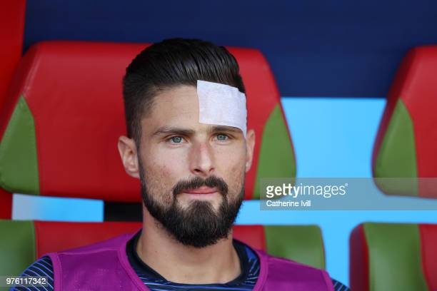 Olivier Giroud of France looks on from the bench during the 2018 FIFA World Cup Russia group C match between France and Australia at Kazan Arena on...