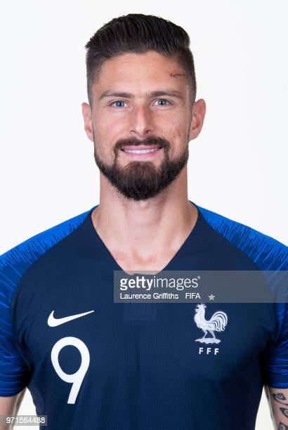 Olivier Giroud of France poses for a portrait during the official FIFA World Cup 2018 portrait session at the Team Hotel on June 11 2018 in Moscow...