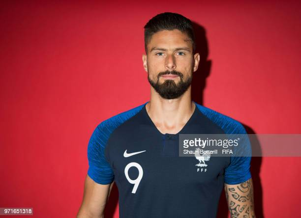 Olivier Giroud of France poses for a potrait at the team hotel during the official FIFA World Cup 2018 portrait session at on June 11 2018 in Moscow...