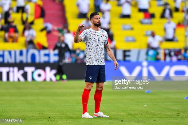 Olivier GIROUD of France prior to the UEFA European Championship football match between France and Allemagne at Allianz Arena on June 15, 2021 in...